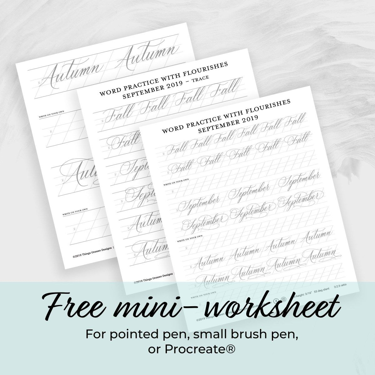 Modern Calligraphy Mini Worksheet Fall September Autumn