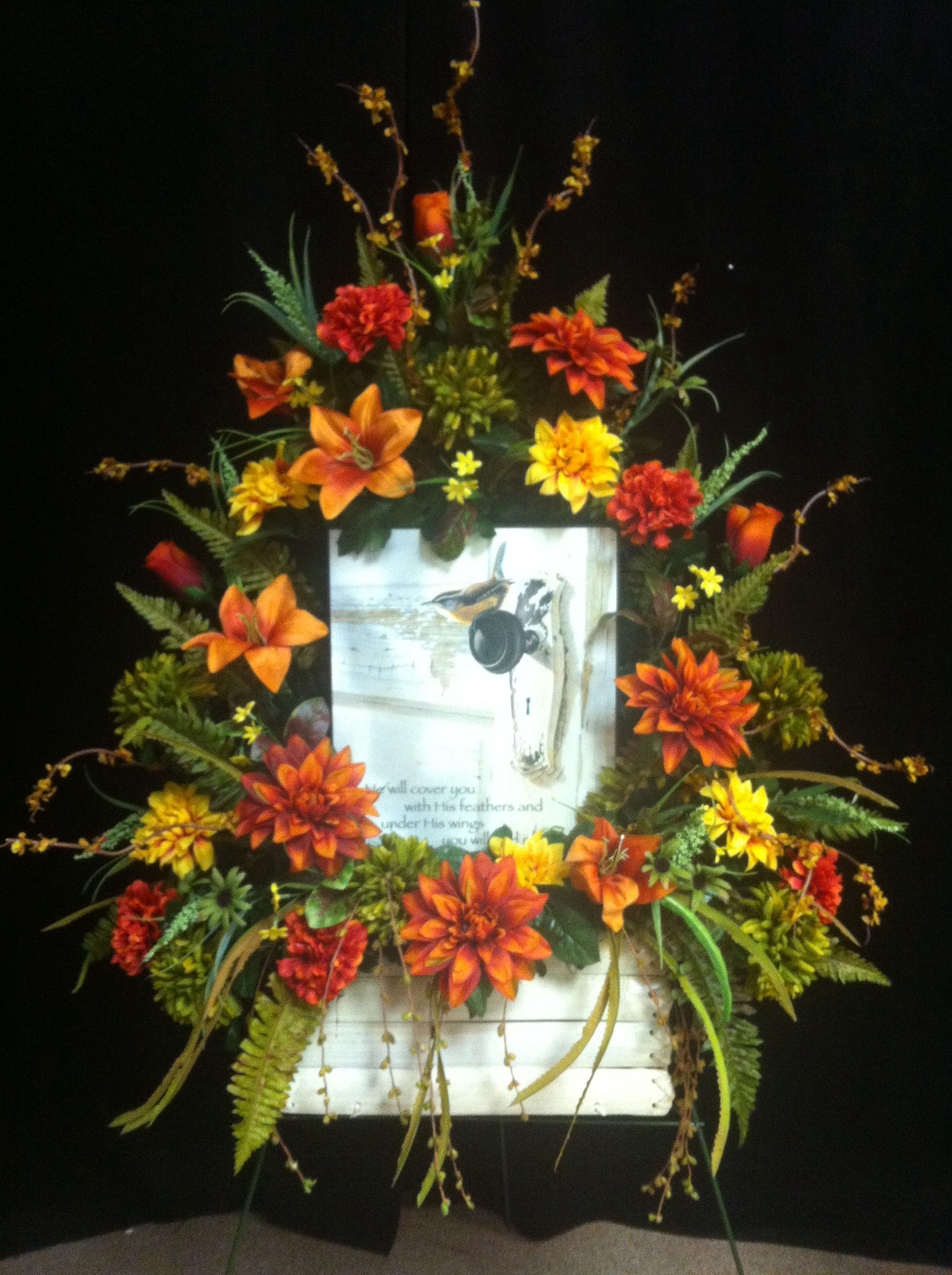 Silk fall flowers with plaque on easel for funeral brees silk fall flowers with plaque on easel for funeral izmirmasajfo