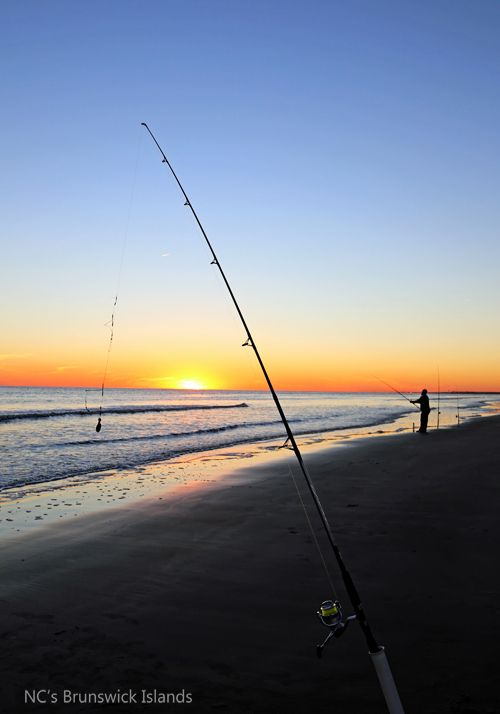 Surf Fishing At Sunset On Caswell Beach
