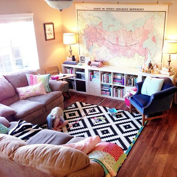 Cozy Living Room In The Apartment World Map Wall Decal Ikea Expedit Shelves
