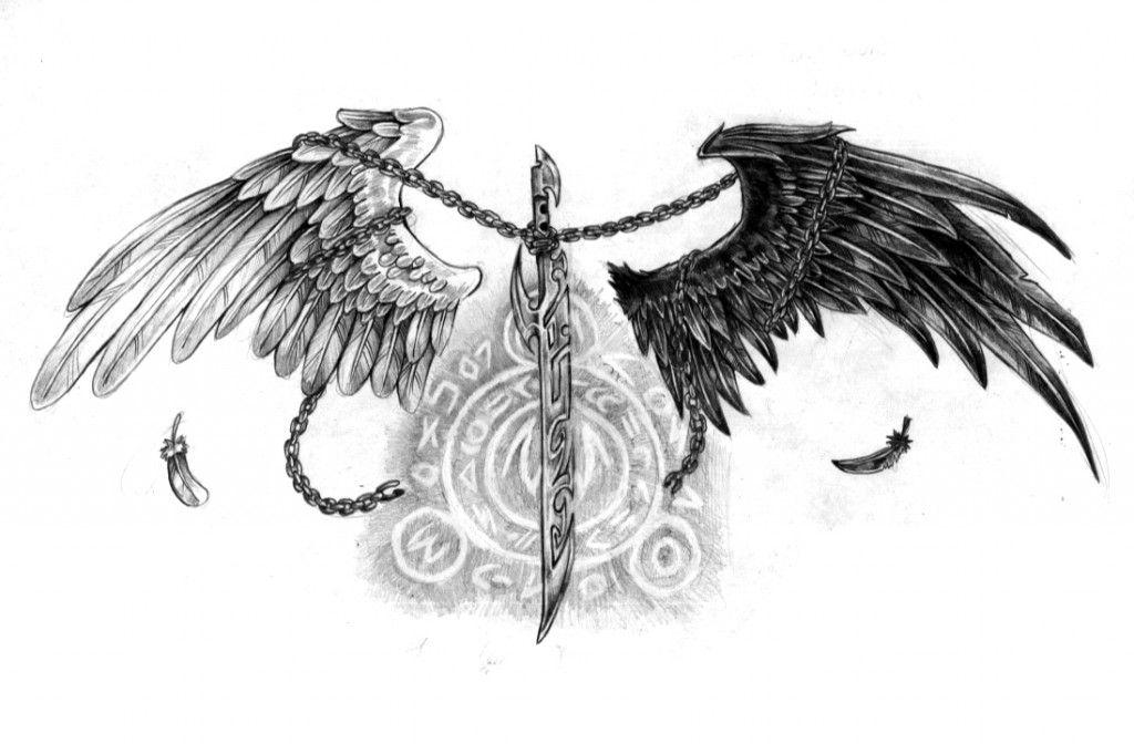 Картинки тату ангел с крыльями демона