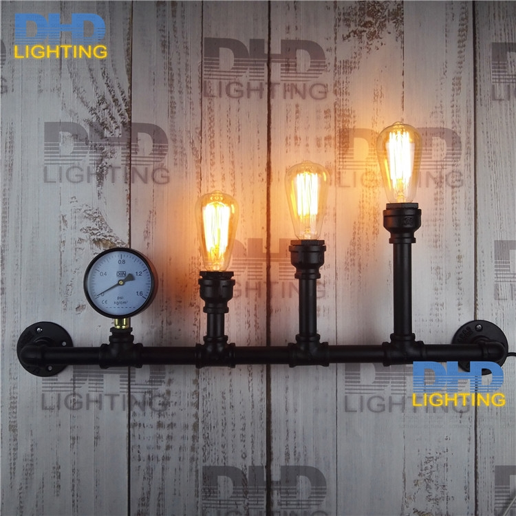 118.00$  Buy now - http://alixlw.worldwells.pw/go.php?t=32726184027 - Water Pipe Wall Lamps Vintage American Country Mesh Cover Industrial Retro Wustic Wall Light Warehouse Sconce for Home Lighting