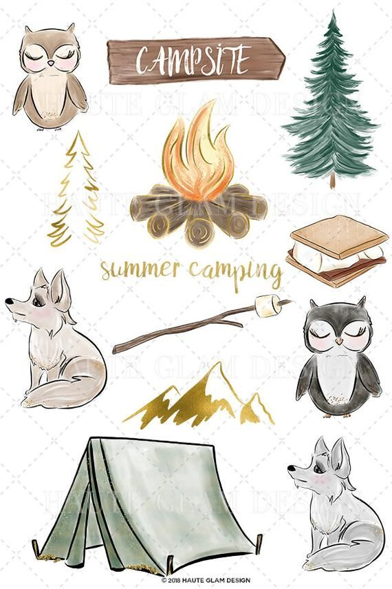 Camping Clipart Summer Camping Starry Night Forest Lake ...