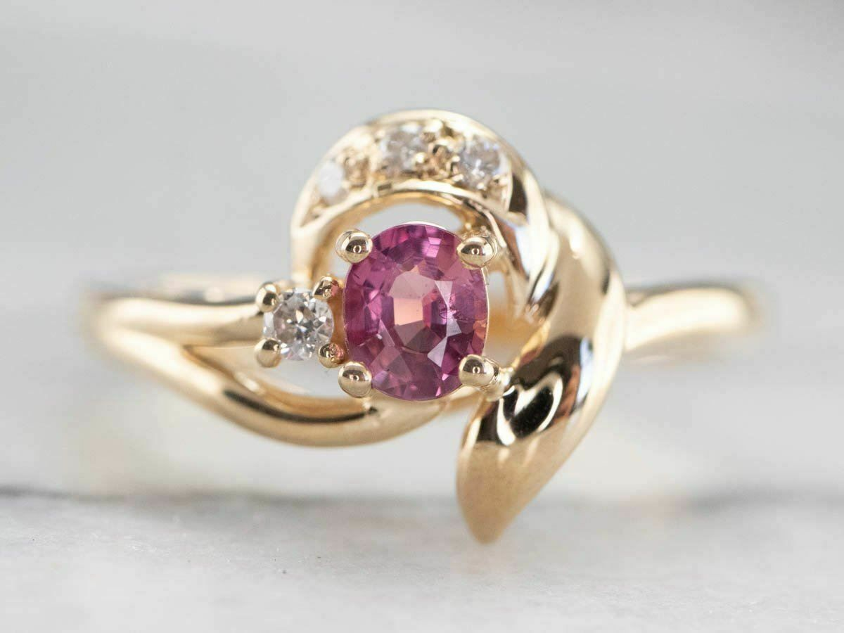 Vintage Pink Sapphire Diamond Gold Ring In 2020 Pink Sapphire Ring Gold Ring Price Pink Sapphire