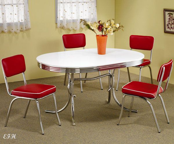 50's Style Chrome Retro Dining Table Set W Red Chairs  Retro Adorable Dining Room Table And Chairs Ebay Decorating Inspiration