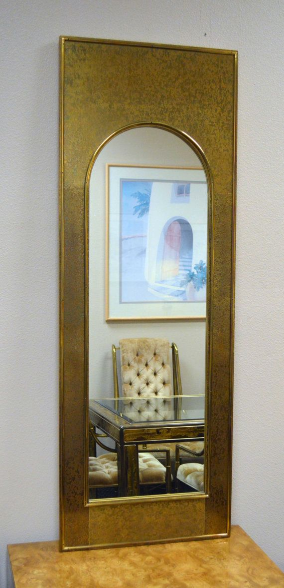 REDUCED Vintage Tall Textured Brass Mirror  by SterlingOrchard