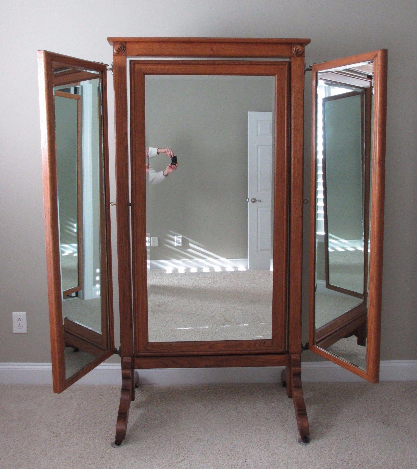 Vintage Tiger Oak Antique Three Way Mirror Tailor