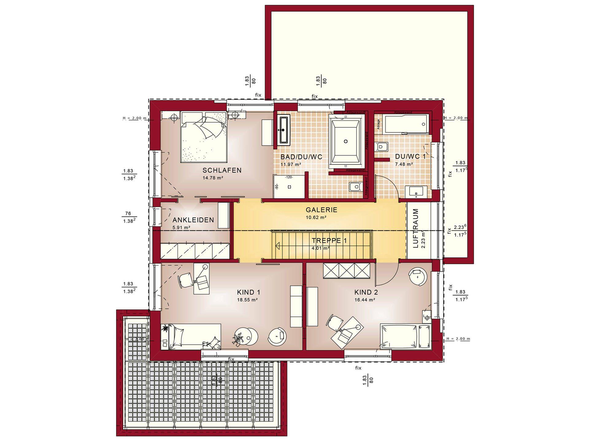 ^ Bien-Zenker infamilienhaus oncept-M Köln Design Grundriss OG ...