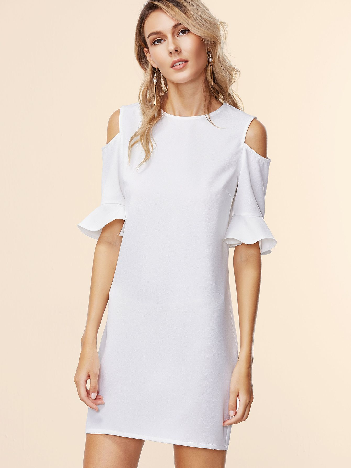 White Open Shoulder Ruffle Sleeve Sheath Dress — 0.00 € ---------color: White size: L,M,S,XS