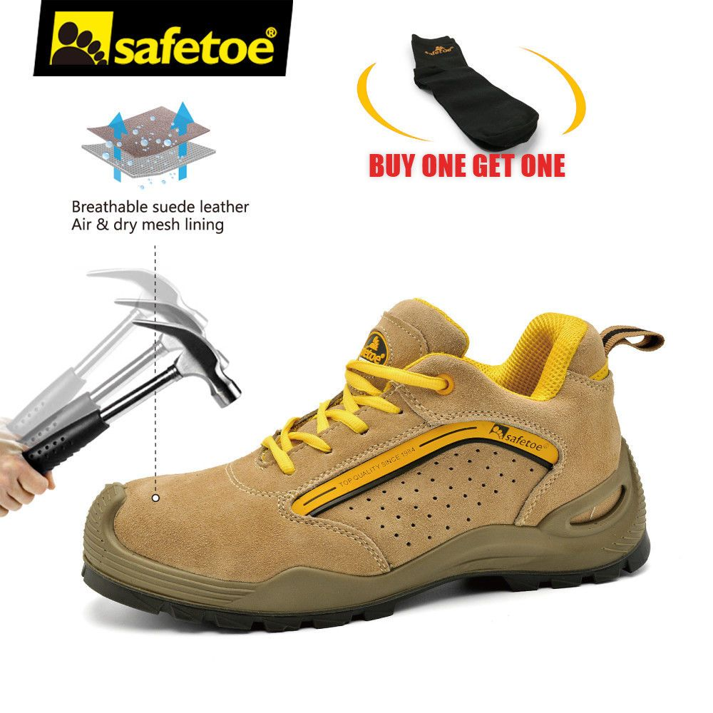 259a2ff0063e54 Safetoe Safety Shoes Mens Work Boots Steel Toe Yellow Leather Breathable  L-7296