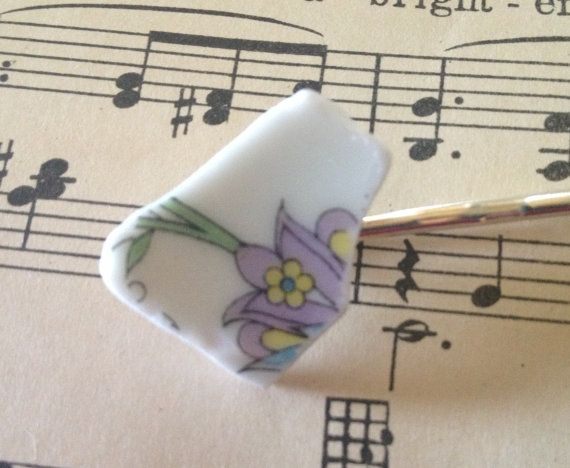 Bobbie pin made of recycled vintage china plates by BellaCosaArt,