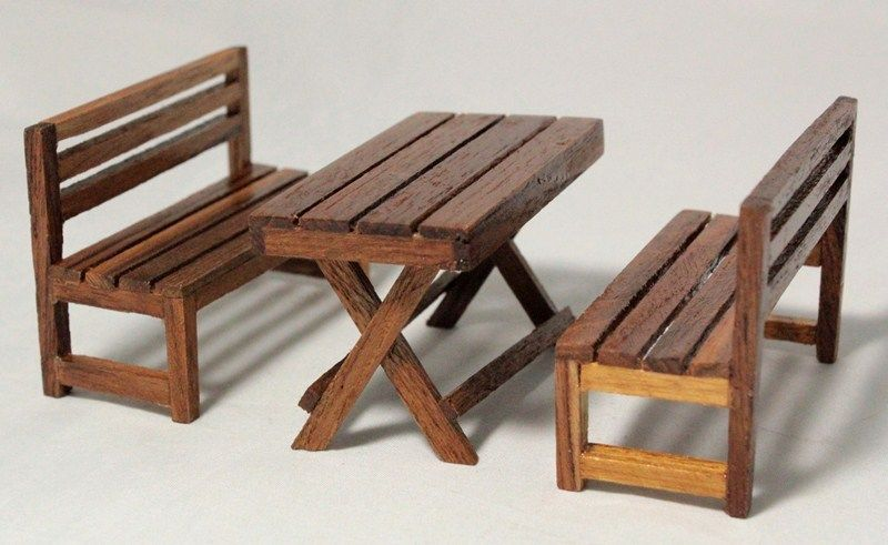 Table Chairs Bench Dollhouse Miniature furniture kitchen dining Room ...