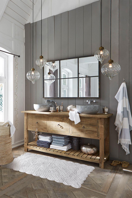 Spa Feeling Fur Das Eigene Badezimmer Zuhause Der Waschtisch Besteht Am Unterschrank Aus Edlem Mangoholz M Badezimmer Mobel Dekoration Badezimmer