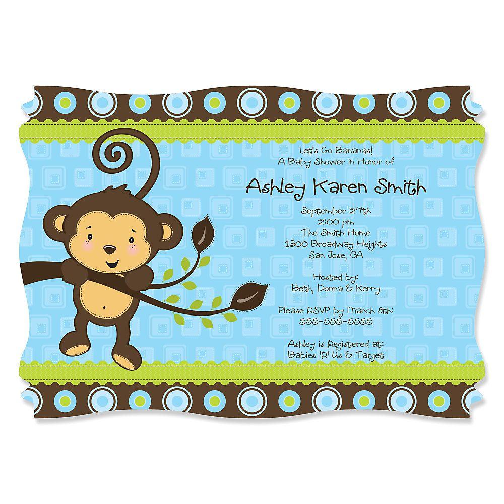 Blue Monkey Boy - Personalized Baby Shower Invitations | Baby shower ...
