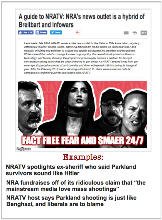 NRA's news outlet is a hybrid of Breitbart and Infowars - fact free fear  and smear