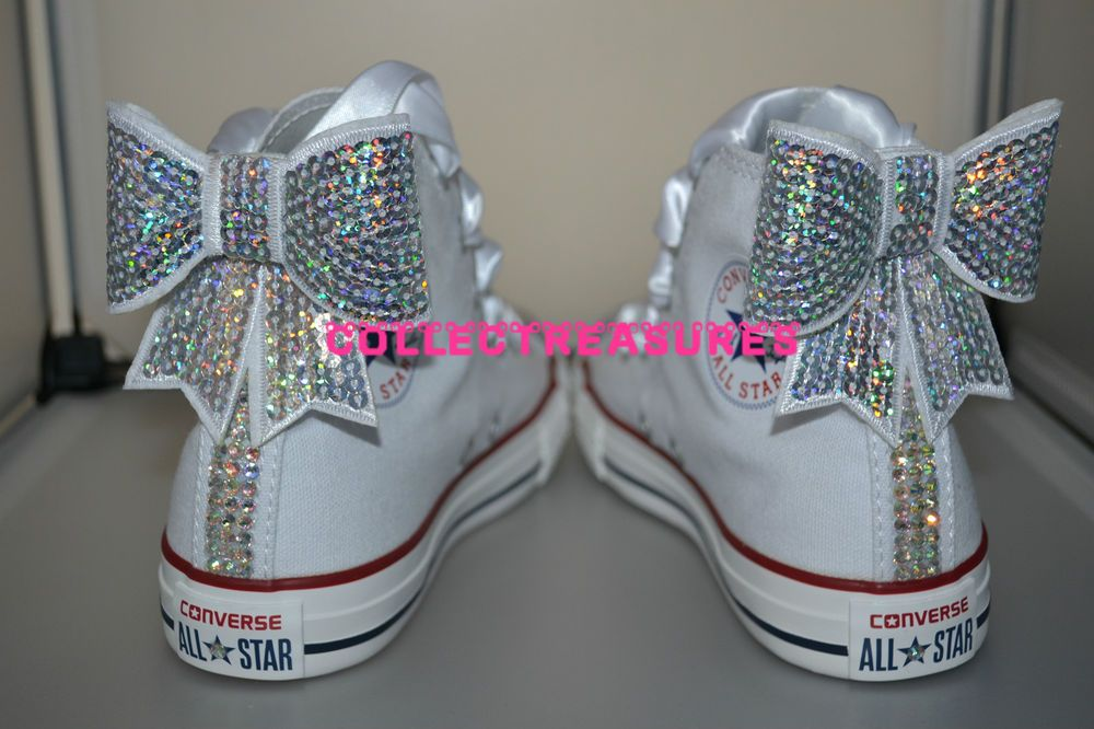 2cb4dcfddfc4 Custom Crystal Diamante Bling Hi White Converse UK 10 11 12 13 1 2 Junior  Youth in Clothes