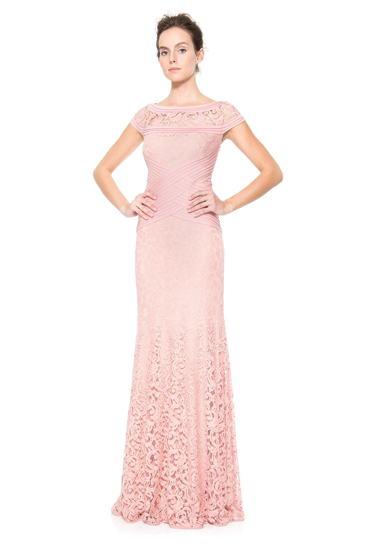 Pintuck Jersey and Lace Cap Sleeve Gown | Tadashi Shoji | Dress ...