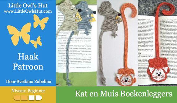 Dit is een link naar een DIRECTE DOWNLOAD van een PDF HAAKPATROON geen kant en klaar product  TAAL: Nederlands -------------------------------------- ENGLISH click on the link below https://www.etsy.com/uk/listing/150984521/024-cat-and-mouse-bookmarks-amigurumi?  MOEILIJKHEIDSGRAAD: Beginner --------------------------------------  Totale Grote: -------------------------------------- Ongeveer 26 cm (10 inches)  Wat moet u kunnen: -------------------------------------- Haken in spiralen…