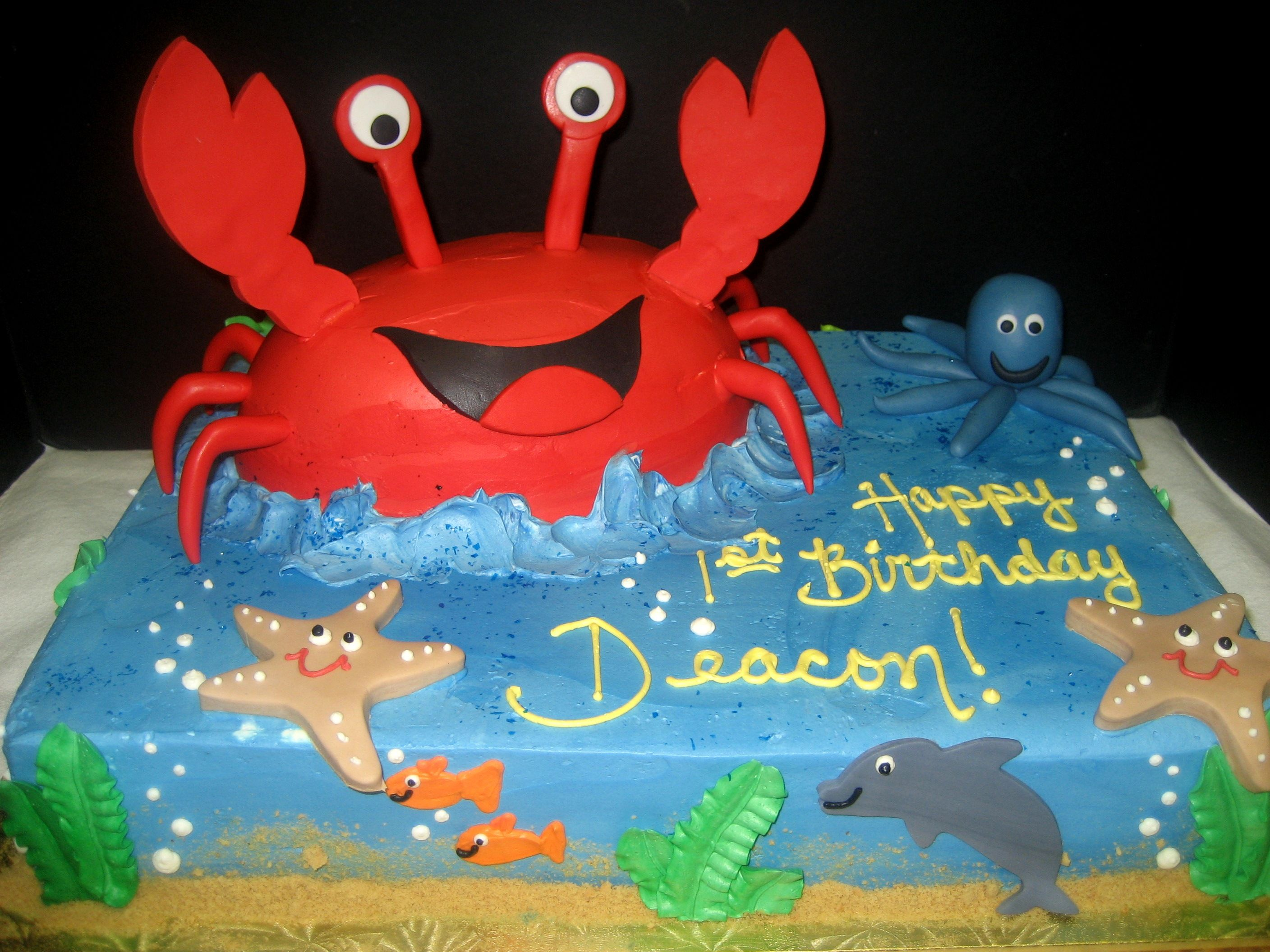 Sea Creature Themed Birthday Cake With 3d Crab Crab Birthday Cakes Themed Birthday Cakes Birthday