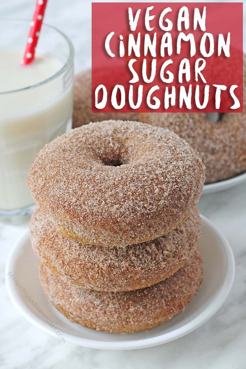 Baked vegan cinnamon sugar doughnuts that will fulfill all of your doughnut drea...