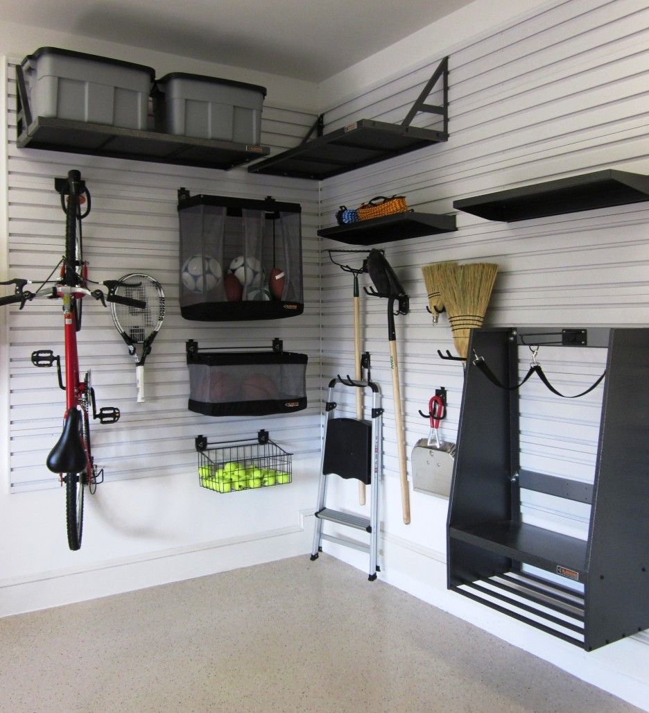 Small Garage Storage Ideas Finished With Black Furntiure Design ...