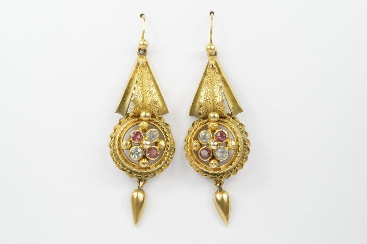 LOVELY ANTIQUE VICTORIAN ENGLISH 9K GOLD PINK PASTE ? EARRINGS c1880 - CJ Antiques