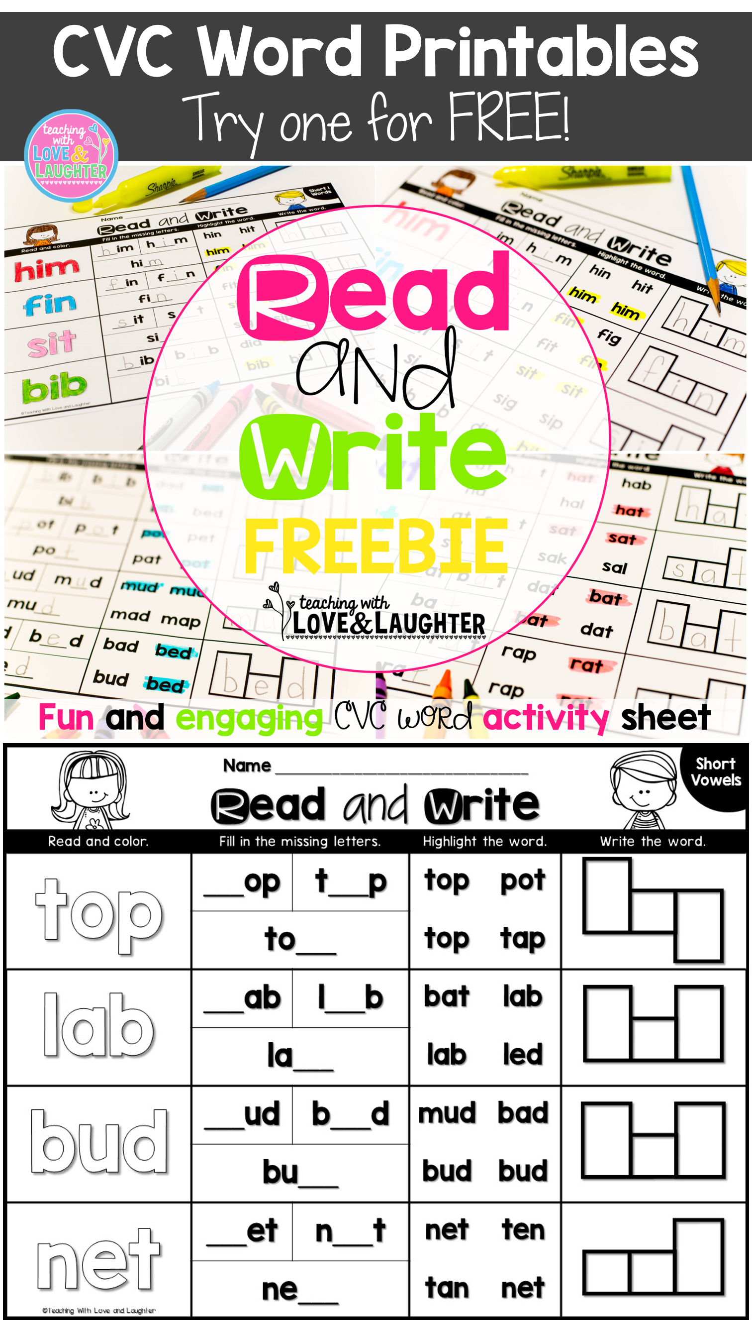 Try a FREE CVC Word Activity Sheet! | 영어 교구 | Pinterest