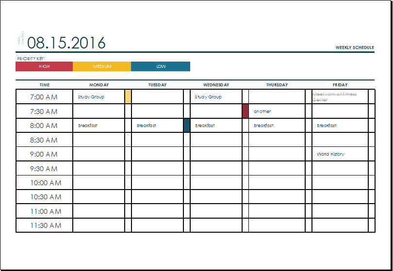 Weekly College Schedule Template At XltemplatesOrg  Microsoft