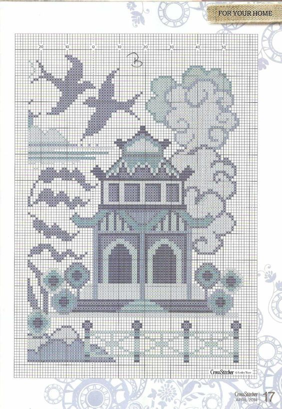 The Willow Pattern Cross Stitch Chart