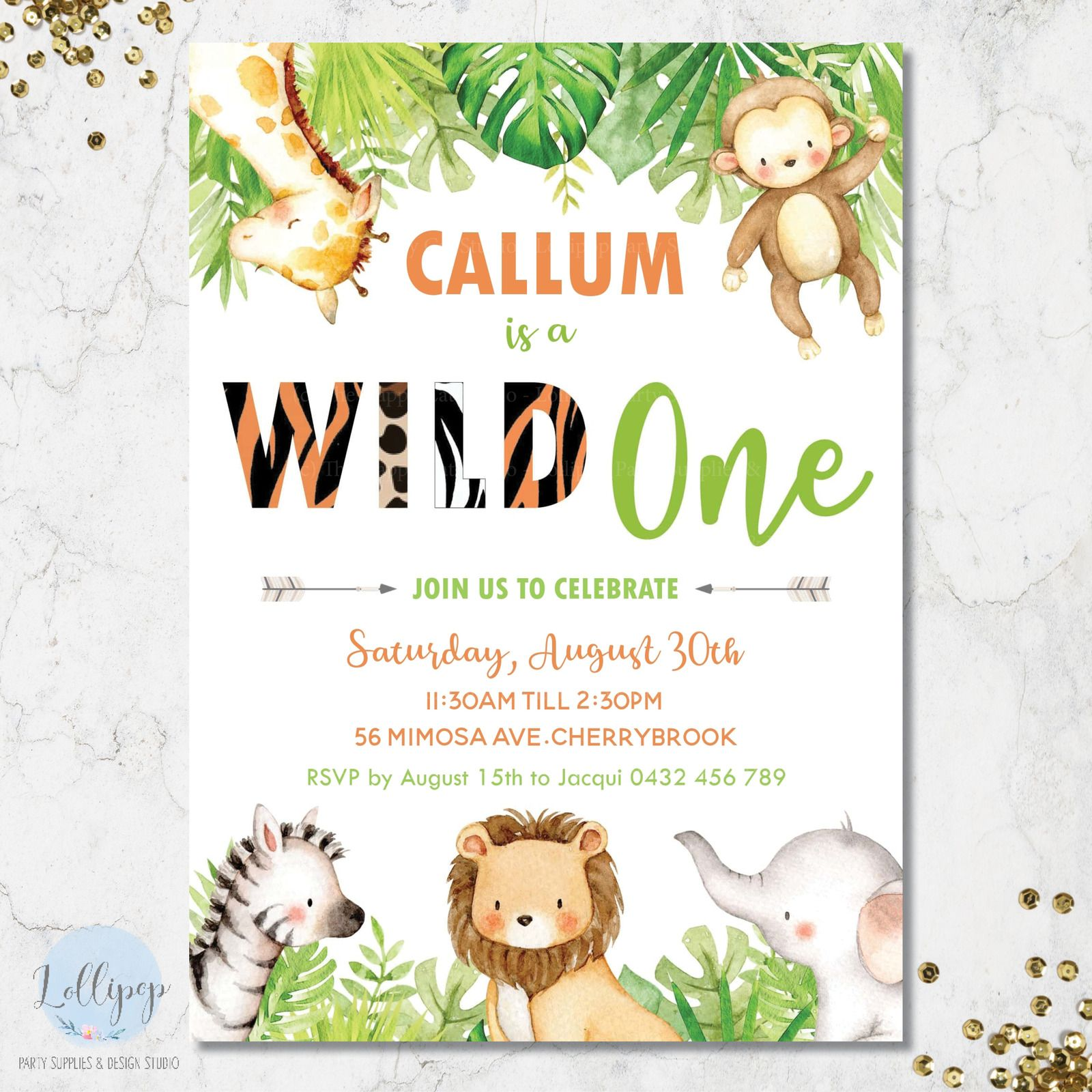 Wild One Jungle Animals 1st Birthday Party Personalised