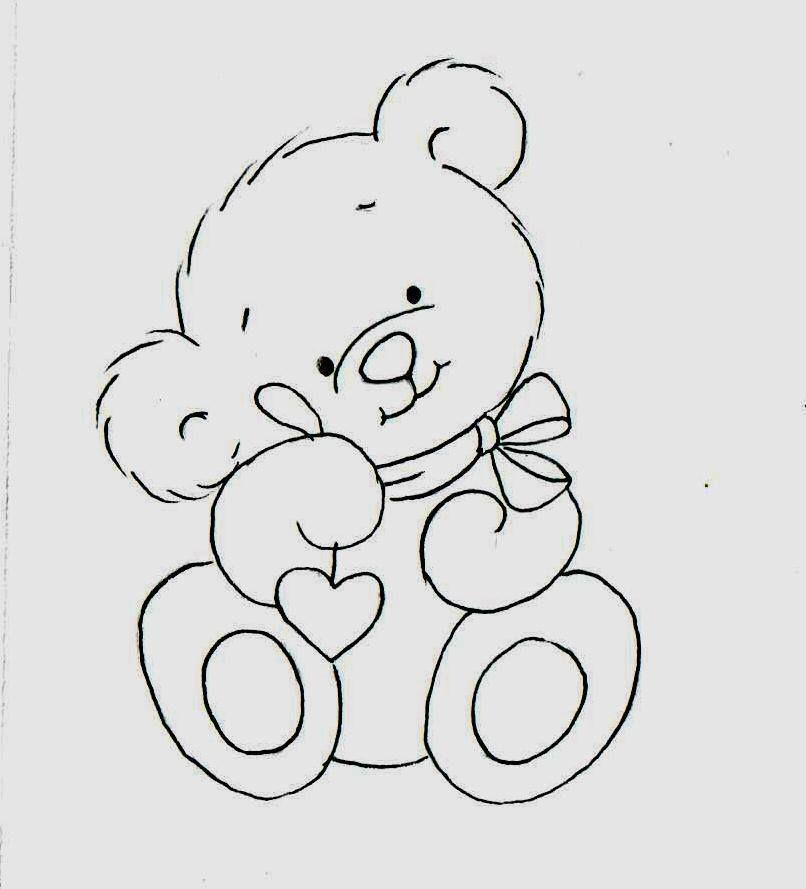 Um Ursinho Fofo Para Pintar Fraldinhas Desenho De Urso