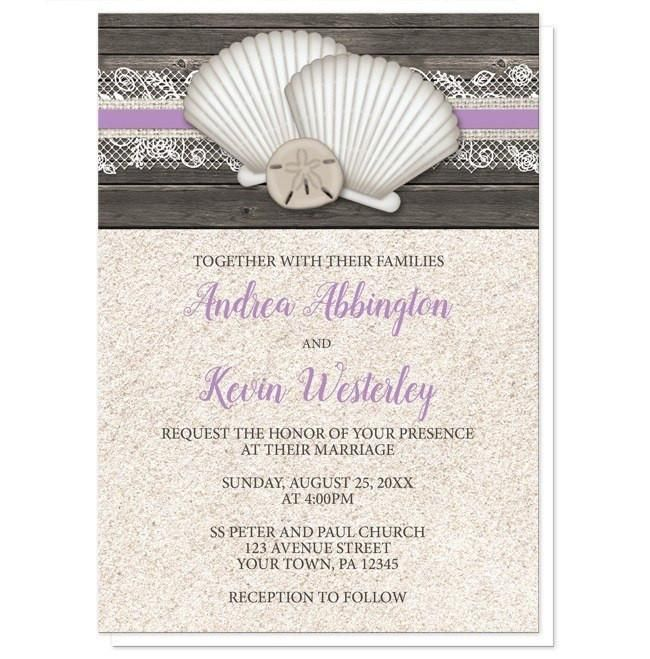 I wanted to share with you these Seashell Lace Wood and Sand Purple Beach Wedding Invitations? Do you like them?    Rustic seashell beach wedding invitations with two seashells and a sand dollar on a purple, burlap and lace ribbon. The seashells and ribbon are over a dark brown wood pattern. Your wedding details printed in dark brown and purple over a beige sand texture background design. This illustration is a unique composition and is a great choice for nautical, destination, beach…