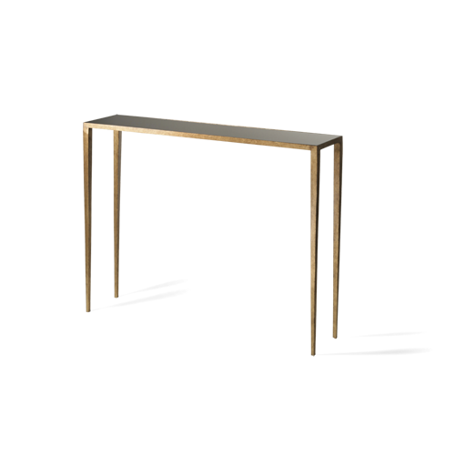 Porta Romana   CCT08, Salvatore Console Table   French Brass With Black  Glass Top