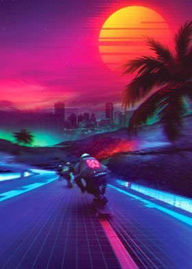 'Synthwave Midnight Outrun' Metal Poster - Denny Busyet | Displate