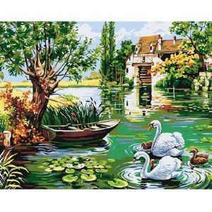 Деревенский пруд Раскраска картина по номерам акриловыми ...