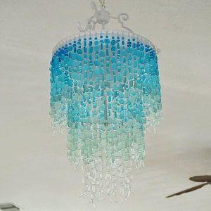 Photo of Sea Glass Chandelier Lighting Fixture Coastal Decor Blue Ombre Beach Glass hanging light ceiling light fixture beach house decor dining room