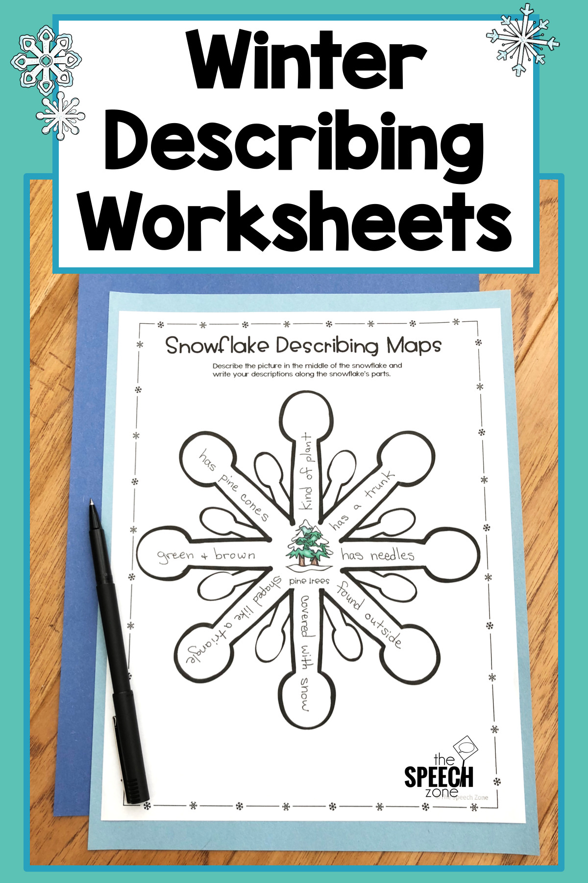 Winter Describing Vocabulary Graphic Organizer Worksheets