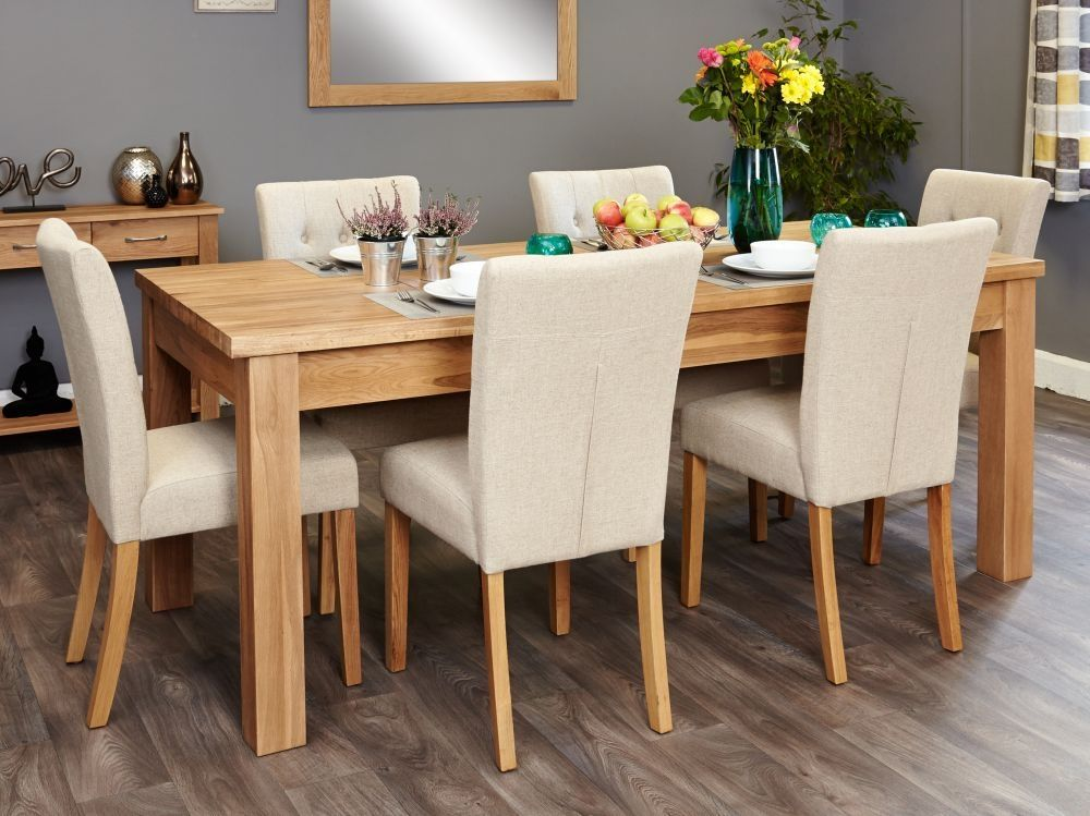 Baumhaus Mobel Oak Extending Dining Set 6 Flare Back Cream