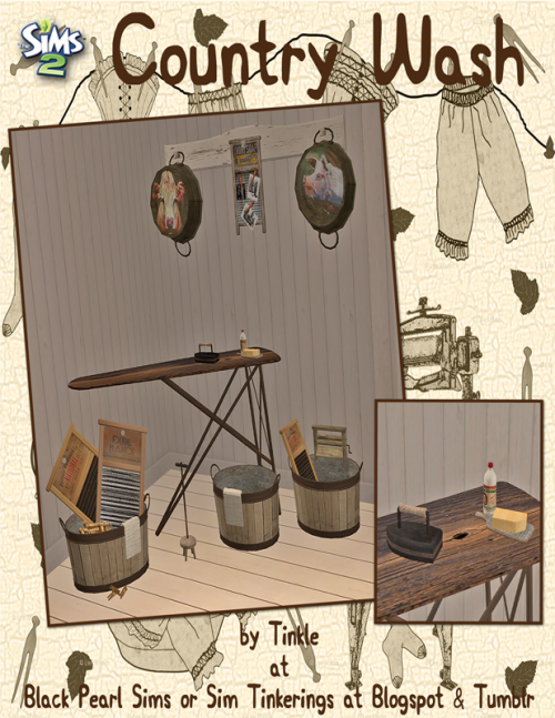 """Thanks for Following Me! Country Wash- 7 New Meshes - Basegame Compatible - Recolorable - Will Shift up & down with Apartment Life Includes: - Ironing Board - functions as """"coffee table"""" with Recolor - Decorative Iron - Decorative Soaps - Soap..."""