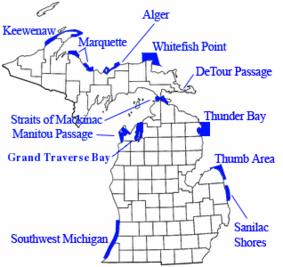 Thunder Bay Michigan Map.Map Showing The Location Of Thunder Bay National Marine Sanctuary
