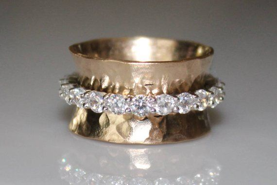 10k Gold Cz Spinner Ring Silver Cz Eternity Ring Glam Figit Spinner 10k Gold Cz Wedding Annive Jewelry Spinner Rings Silver Rings