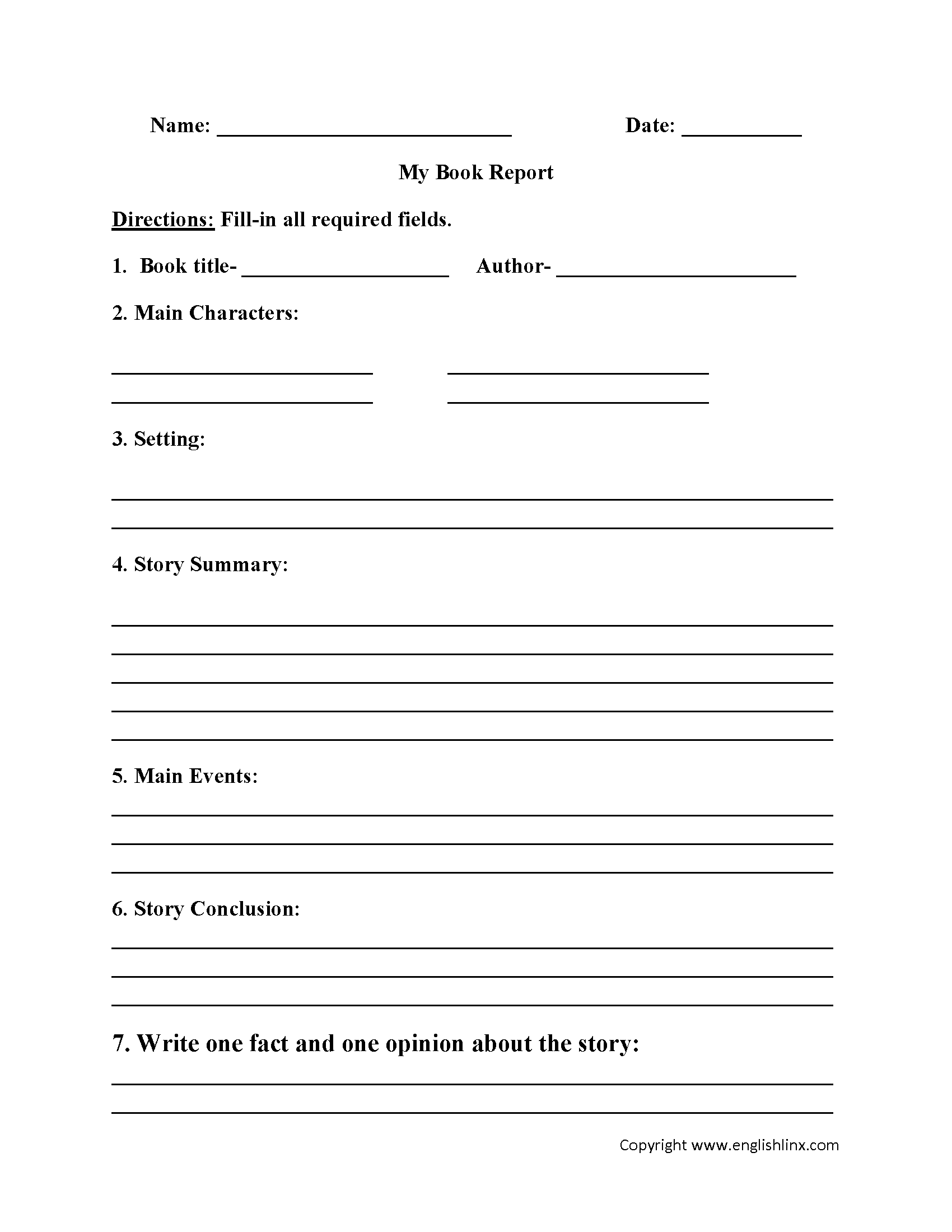My Book Report Worksheet