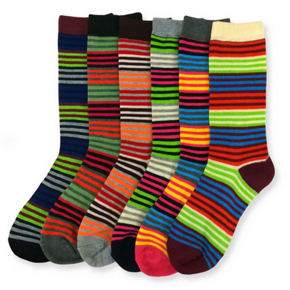 6 Pairs Womens Striped Socks Size 9-11 New Rainbow Vivid Colored Crew Length Lot #Mamia #Casual