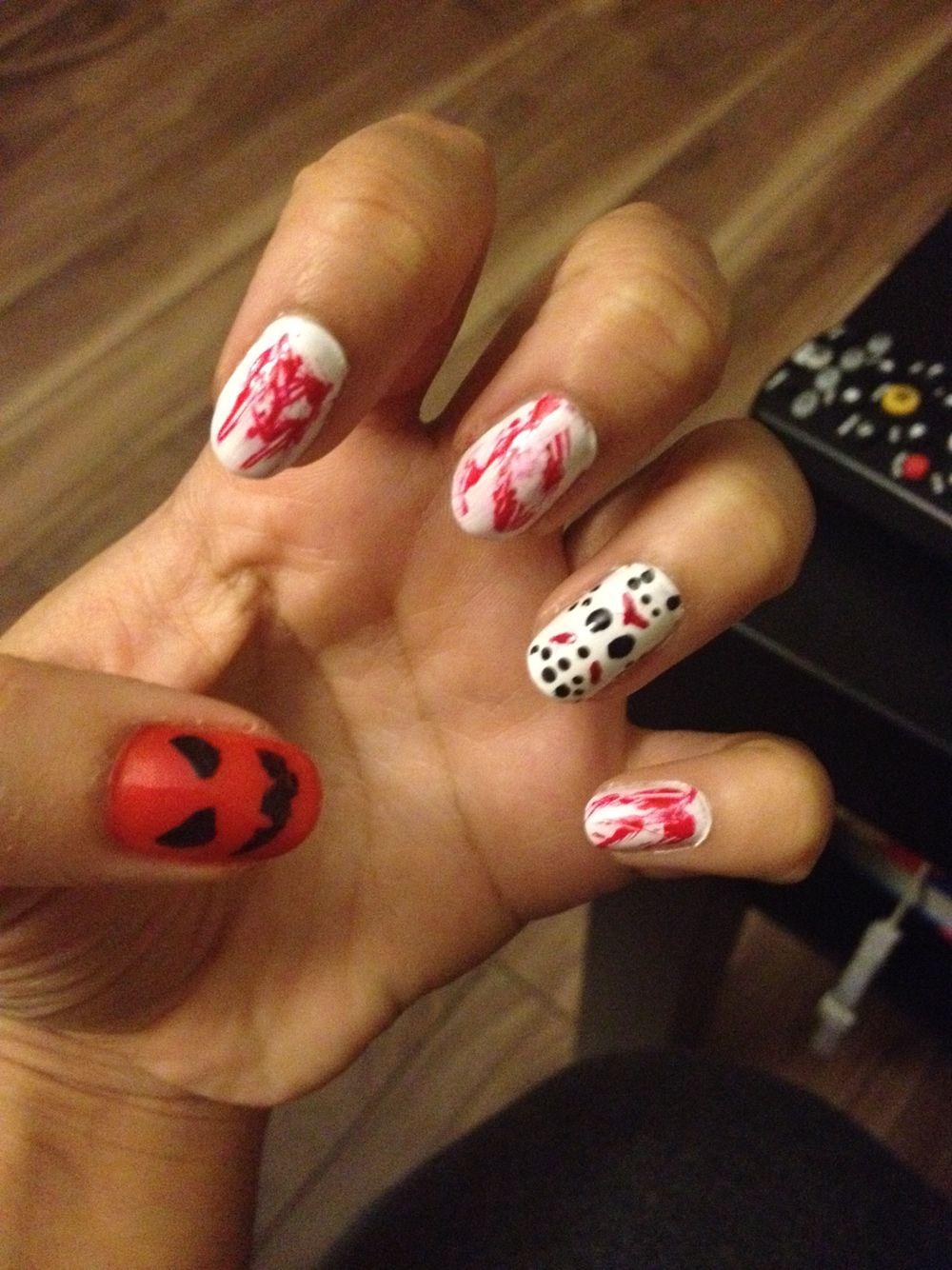 Halloween nails - Jason Voorhees theme | Nail Art! | Pinterest