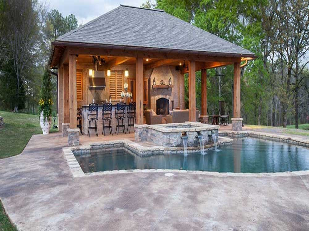 Pool House Cabana Plans: Pool And Pool House Designs With Brick Wall And Fireplace