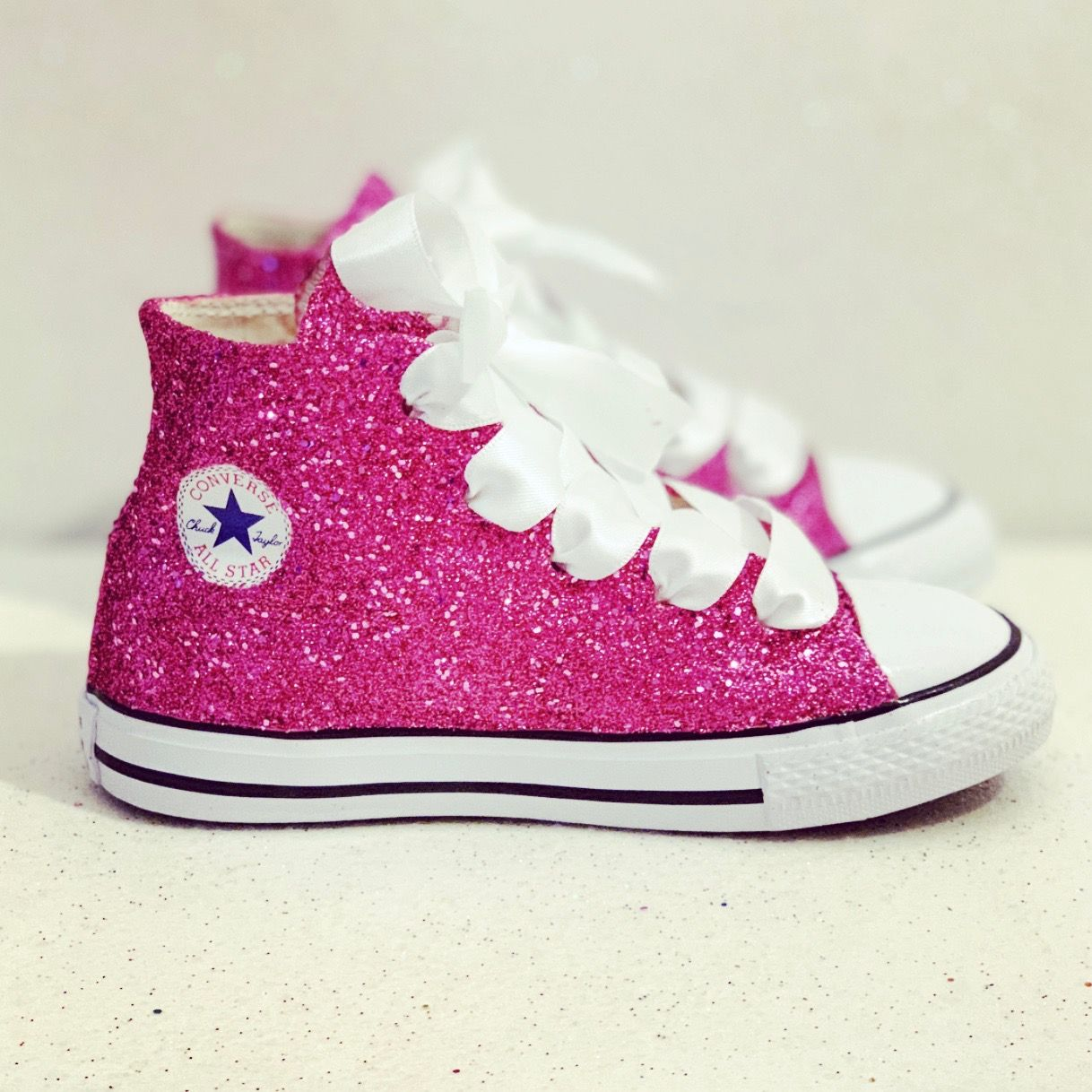 fa420fa74bc Kids Sparkly Glitter Converse All Stars Flower Girls birthday Shoes ...