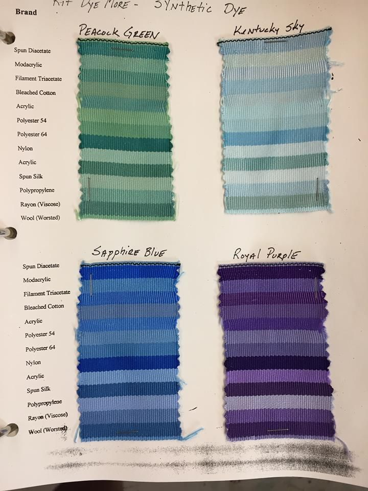 Rit Synthetic Dye Sample Chart  Color Palettes    Chart
