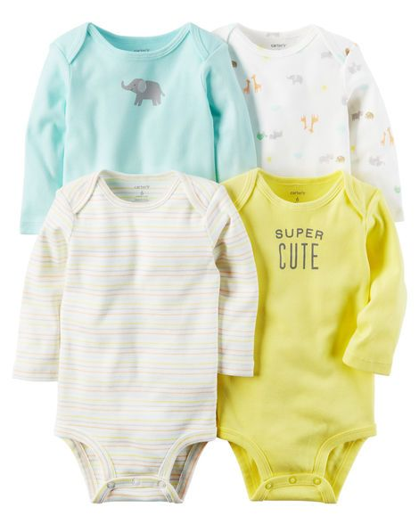 f6276b21f Baby Boy 4-Pack Long-Sleeve Original Bodysuits from Carters.com. Shop  clothing & accessories from a trusted name in kids, toddlers, and baby  clothes.
