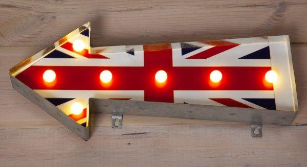 Union Jack Metal Arrow With Lights Noma Lighting Christmas