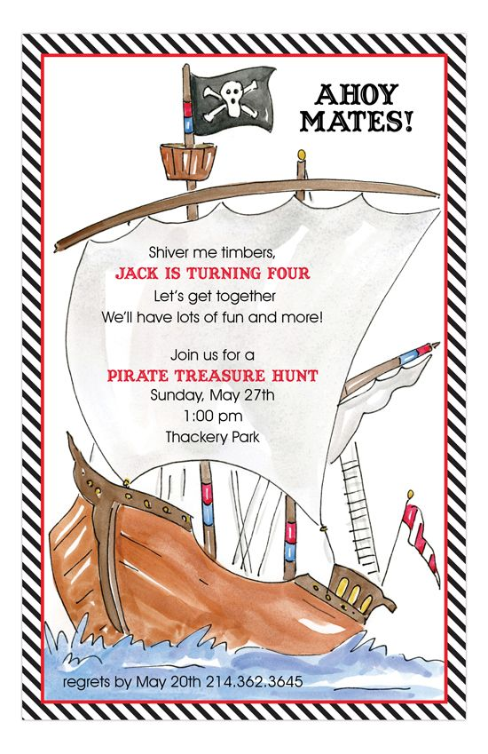 Pirate ship kids birthday invitation pirate ships cheap party captain jack sparrow is turning 4 and he demands a pirate birthday party look through our polka dot custom printed birthday invites and you will see this stopboris Choice Image